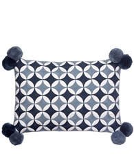 Bombay Duck Fez Circles With Pompoms Rectangle Cushion