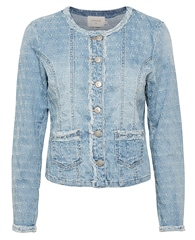 Cream 'Robina' Frayed Seams Embroidered Denim Jacket