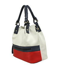 Envy Bags Colour Block Adjustable Handle Hobo Bag - Red