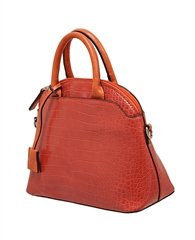 Envy Bags Crocodile Detachable Strap Bowler Bag - Orange
