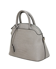 Envy Bags Crocodile Detachable Strap Bowler Bag - Grey