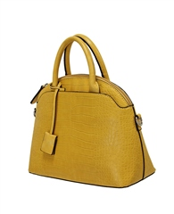 Envy Bags Crocodile Detachable Strap Bowler Bag - Mustard