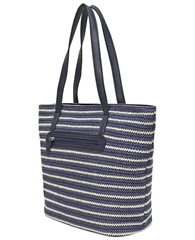 Envy Bags Envy 'Clover' Twin Strap Weave Shoulder Bag - Navy Stripe