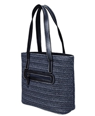 Envy Bags Envy 'Orchid' Twin Strap Weave Shoulder Bag - Navy