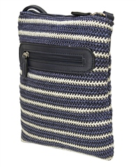 Envy Bags Envy 'Rose' Cross Body Satchel - Navy Stripe