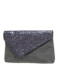Envy Bags Glittery Faux Suede Clutch Bag