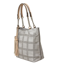 Envy Bags Lasercut Pattern Tassel Shoulder Bag - Grey
