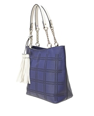 Envy Bags Lasercut Pattern Tassel Shoulder Bag - Navy