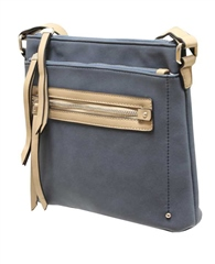 Envy Bags Contrast Zip Compartments Crossbody Bag - Navy