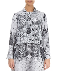 Grizas 100% Linen Abstract Print Cropped Jacket
