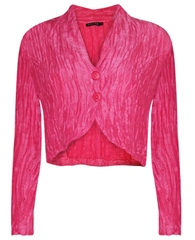 Grizas Linen/Silk Mix Crinkle Bolero - Hot Pink