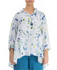 Grizas 100% Linen Splatter Print Loose Shirt