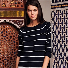Betty Barclay Bow Detail Striped Jumper - Dark Blue
