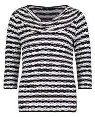 Betty Barclay Layered Neckline Striped Top
