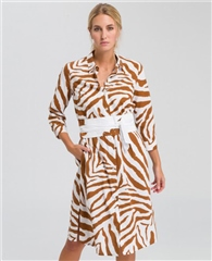 Marc Aurel 100% Cotton Zebra Print Belted Shirt-Dress