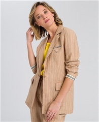 Marc Aurel Linen/Cotton Blend Striped Blazer With Brooch