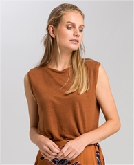 Marc Aurel 100% Linen Jersey Glossy Sleeveless Top