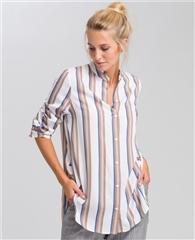 Marc Aurel Dip-Hem Striped Blouse
