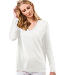 Brax 'Lana' V-Neck Jumper - Off-White