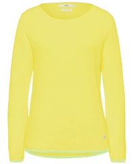 Brax 'Liz' Round Neck Ribbed Jumper - Yellow