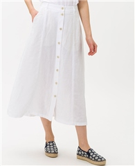 Brax 'Kelly' 100% Linen Button Through A-Line Midi Skirt - White