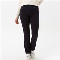 Brax 'Pamina' Pull-On Cotton Trousers - Dark Blue