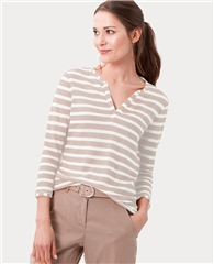 Brax 'Claire' 100% Cotton Notch Neck Striped Top - Sand
