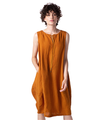 Oska 'Dag' 100% Linen Tie-Neck Lightweight Dress