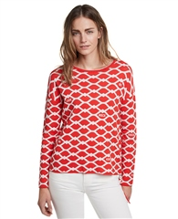 Oui Lip Print Cotton Jumper