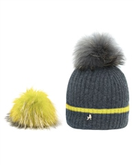 Pom Pom Poodle 'Millie' Cashmere Hat - Charcoal/Yellow
