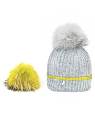 Pom Pom Poodle 'Millie' Cashmere Hat - Grey/Yellow