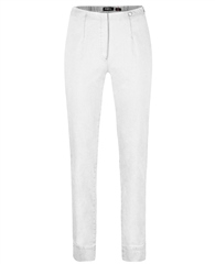 Robell 'Marie' Full Length Pull On Jeans - White