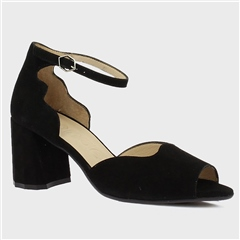 Wonders Scallop Edge Suede Block Heel Sandals - Black