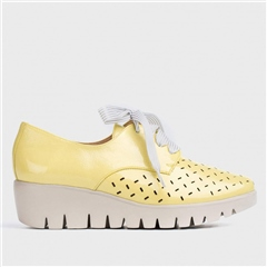 Wonders Ribbon Lace Lazer Cut Wedge Brogues - Sunny Yellow