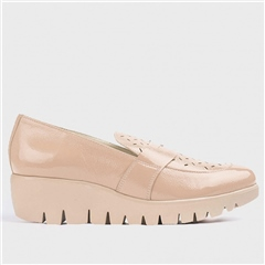 Wonders Brogue Detail Wedged Penny Loafers - Sand