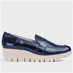 Wonders Brogue Detail Wedged Penny Loafers - Navy