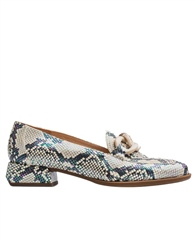 Wonders Chain Detail Snakeskin Loafers