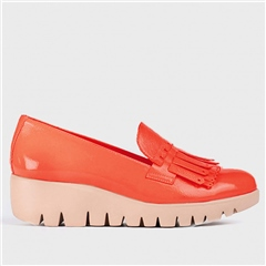 Wonders Fringe Detail Wedged Loafers - Coral
