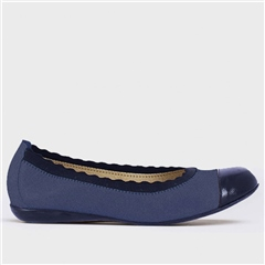 Wonders Scallop Elastic Suede Pumps - Baltic Navy