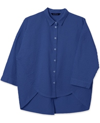 Yacco Maricard Yacco Marciard Cotton Lawn Pintuck Rounded Hem Shirt - Oxford Blue