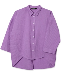 Yacco Maricard Cotton Lawn Pintuck Rounded Hem Shirt - Wisteria