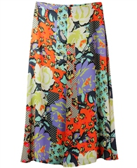 Erfo Patchwork Floral Print Skirt