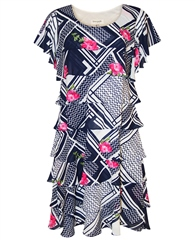 Georgede Multi Print Tiered Dress