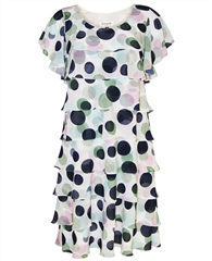 Georgede Polka Dot Tiered Dress