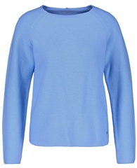 Gerry Weber Round Neck 100% Cotton Jumper - Cloud Blue