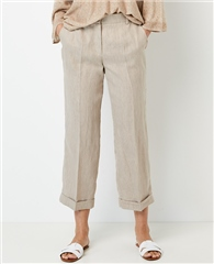Gerry Weber Linen/Cotton Blend Striped Cropped Trousers