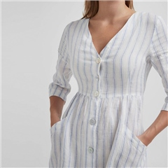 Holebrook 'Solina' Cotton/Linen Mix Striped Maxi Dress - White