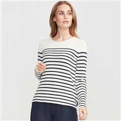 Holebrook 'Astrid' 100% Cotton Crewneck Striped Jumper - Off White