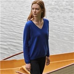 Leo & Ugo 100% Cashmere V-Neck Jumper - Deep Blue
