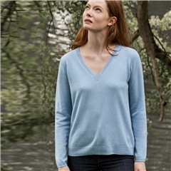 Leo & Ugo 100% Cashmere V-Neck Jumper - Ice Blue